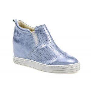 Sneakersy J.WOLSKI 478 niebiesko srebrny przecierany