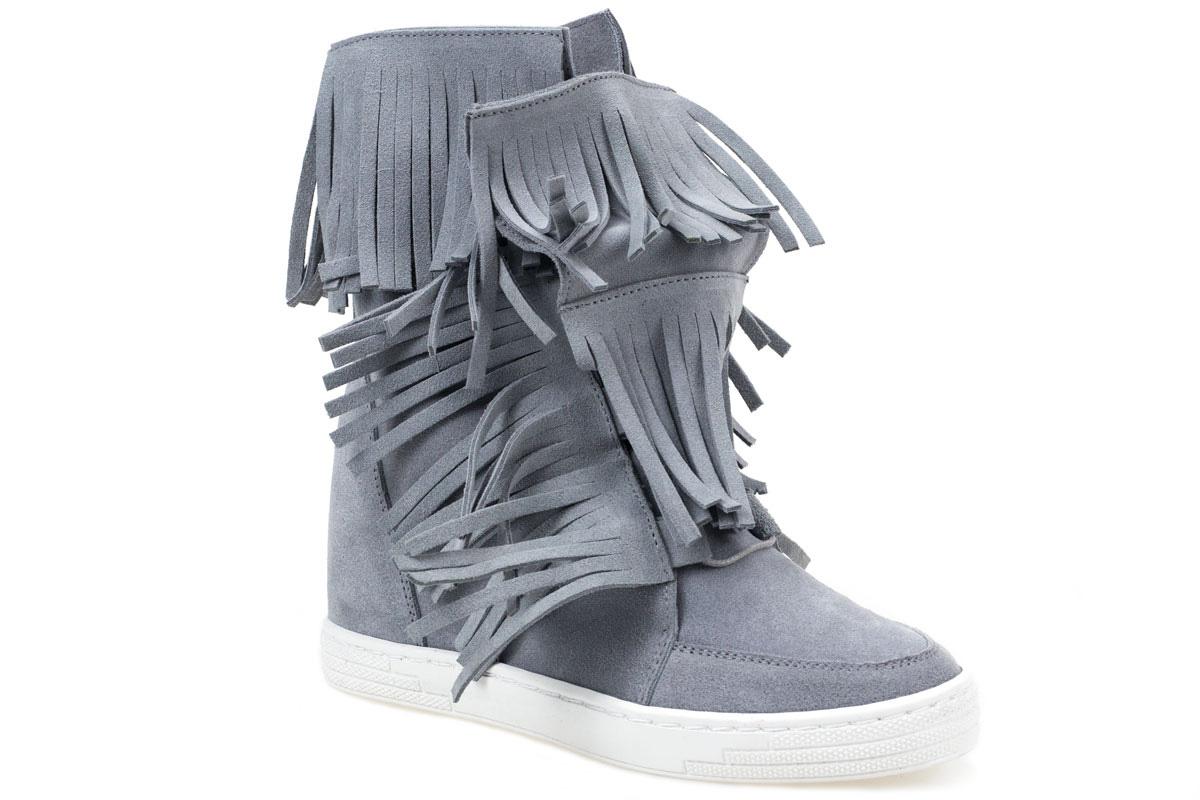 Sneakersy  J.WOLSKI N011 szare frędzle