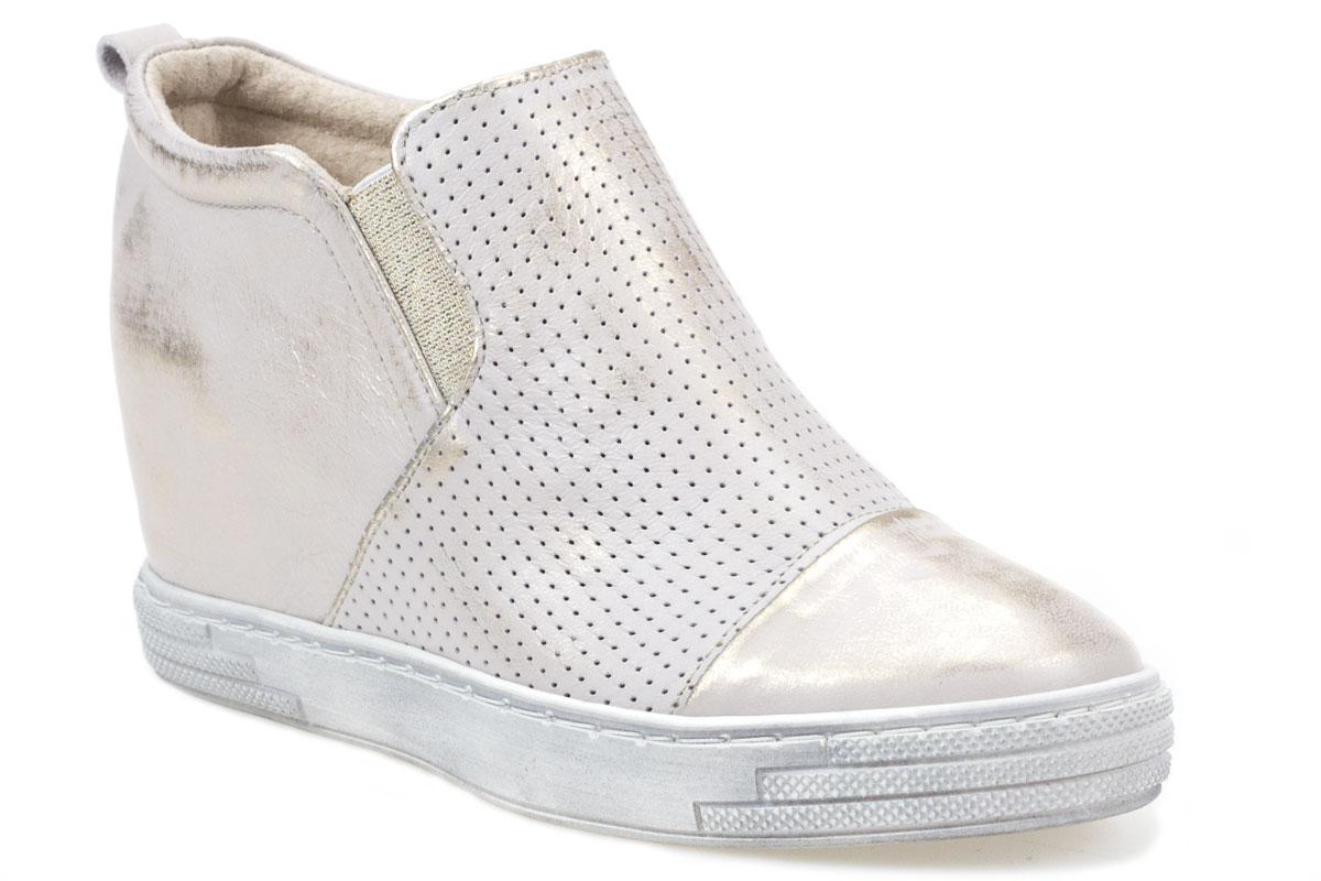 Sneakersy J.WOLSKI 478 biały złoty przecierany