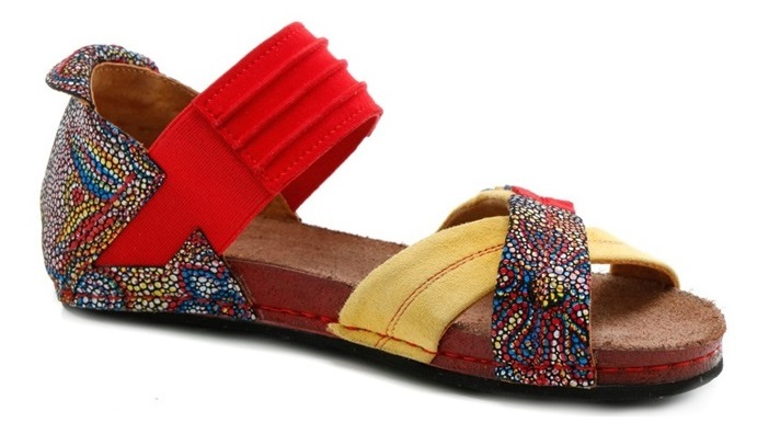 Sandały Maciejka 03375-43 czerwone żółte